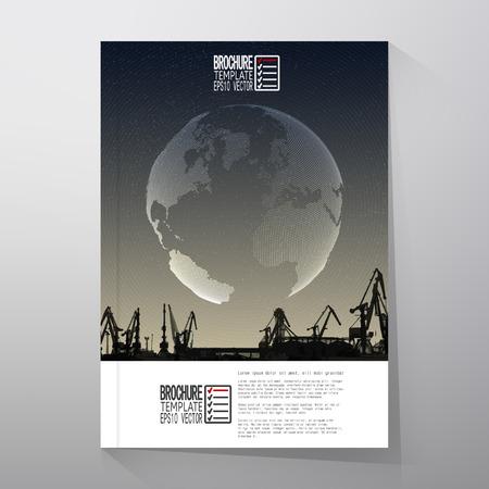 harbour: Cantiere navale, porto orizzonte, mondo globo design notturno vettoriale. Brochure, flyer o report per lavoro, modelli Vector.