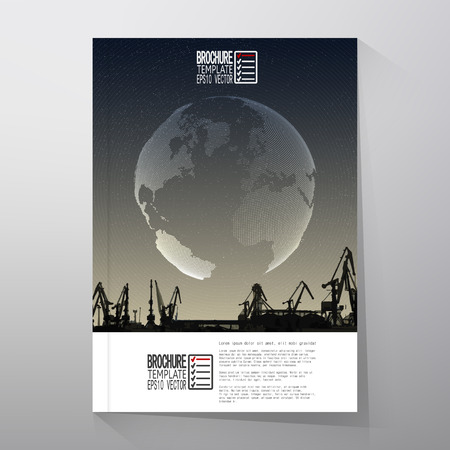 dockyard: Shipyard, harbor skyline, world globe night design vector. Brochure, flyer or report for business, templates vector.