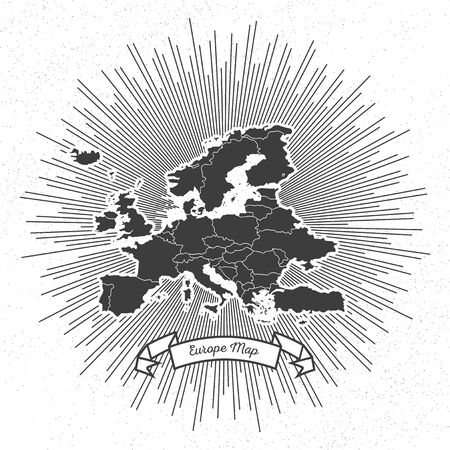 Europe map with vintage style star burst, retro element for your design. Vector