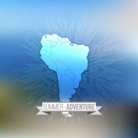Summer adventure poster. South america map with vintage style star burst on blurred background, retro element for your design. Vector