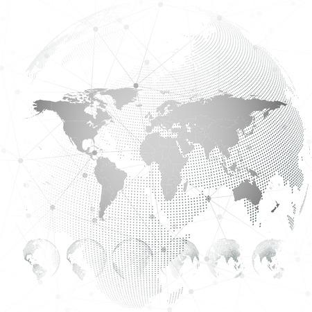 Wereldkaart met gestippelde bollen, licht ontwerp vector illustratie.