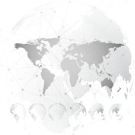 World map with dotted globes, light design vector illustration.