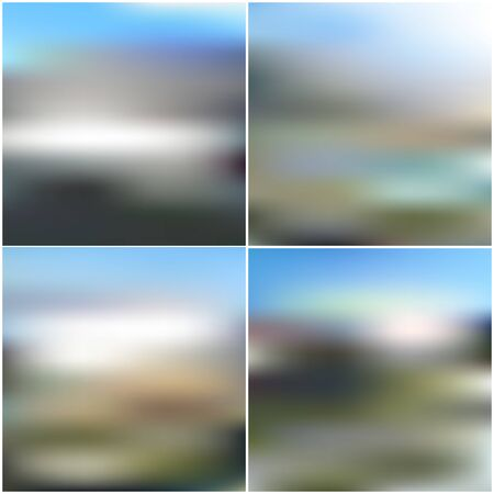 obscurity: Illustration of a blue sky and white clouds. Vector web and mobile interface templates. Editable blurred backgrounds set