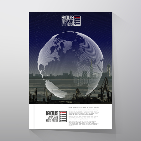 dockyard: Shipyard and city landscape, world globe night design vector. Brochure, flyer or report for business, templates vector.