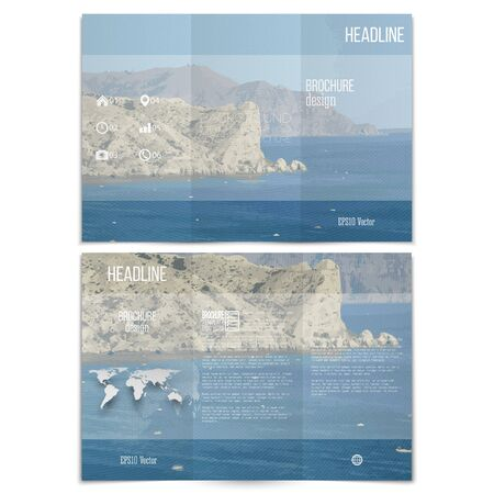 tropical beach panoramic: Realistic sea landscape. Brochure, tri-fold flyer or booklet for business. Modern trendy design vector templates on both sides.