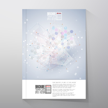 a structure: Brochure, flyer or report with molecular structure for communication, template vector.
