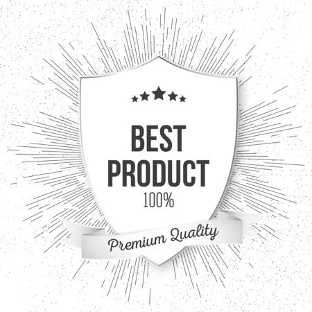 best product: Best product shield isolated on blurred background with vintage style star burst, retro element for your design. Illustration