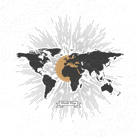 Black political world map with vintage style star burst, retro element for your design. Vector