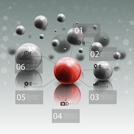 red sphere: Spheres in motion on gray background. Red sphere with infographic elements for business or science report, abstract molecular geometric pattern vector illustration.