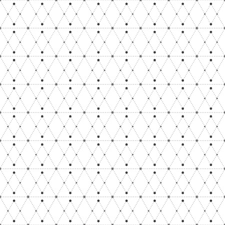 nodes: Dotted seamless pattern with rhombus and nodes. Repeating modern stylish geometric background. Simple abstract monochrome vector texture. Illustration