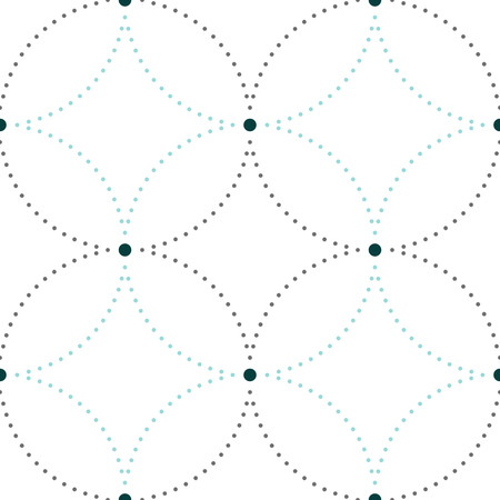 nodes: Dotted seamless pattern with circles and nodes. Repeating modern stylish geometric background. Simple abstract monochrome vector texture.