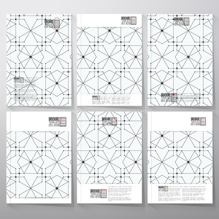 nodes: Brochure, flyer or booklet for business, tamplate vector. Hexagons and nodes on background.