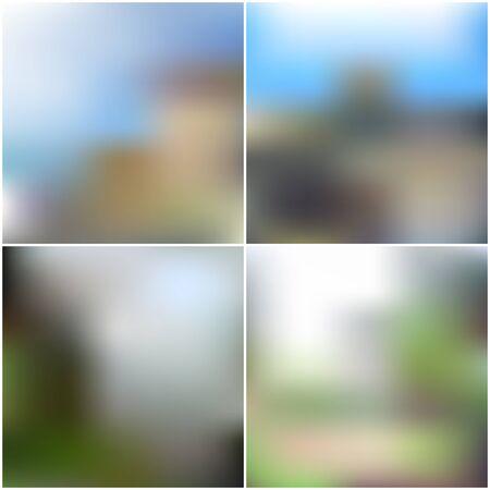 unfocused: Vector set of nature blurred unfocused backgrounds. Illustration