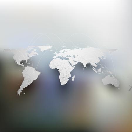 Wereld kaart met schaduw, netwerkverbinding concept. Infographic voor zakelijke ontwerp sjabloon, wazig ontwerp vector illustratie.