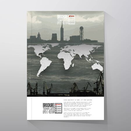 book cover: Shipyard and city landscape, world map vector. Brochure, flyer or report for business, templates vector. Illustration