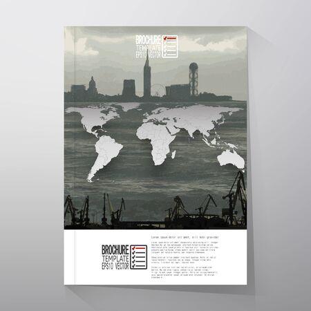 shipyard: Shipyard and city landscape, world map vector. Brochure, flyer or report for business, templates vector. Illustration