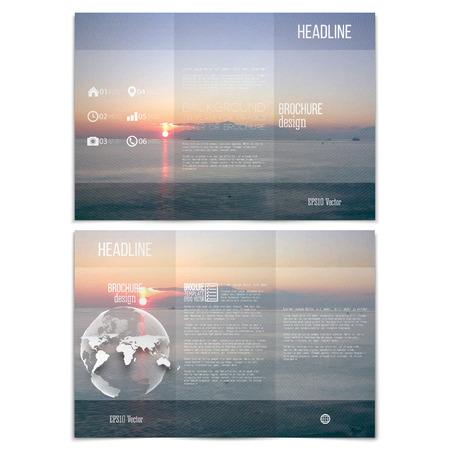 sea landscape: Realistic sea landscape. Brochure, tri-fold flyer or booklet for business. Modern trendy design vector templates on both sides.