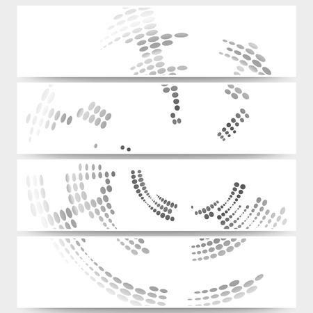 website backgrounds: Web banners set of header layout templates, circle halftone vector backgrounds for your website design. Illustration