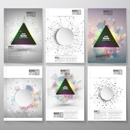 Abstract triangle banner with place for text. Molecule structure background. Brochure, flyer or report for business, templates vector.