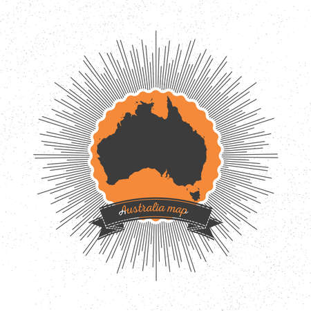 Australia map with vintage style star burst, retro element for your design. Vector