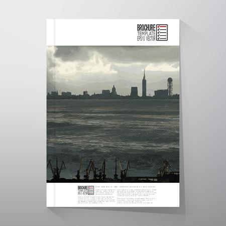 dockyard: Shipyard and city landscape, illustration. Brochure, flyer or report for business, templates. Illustration