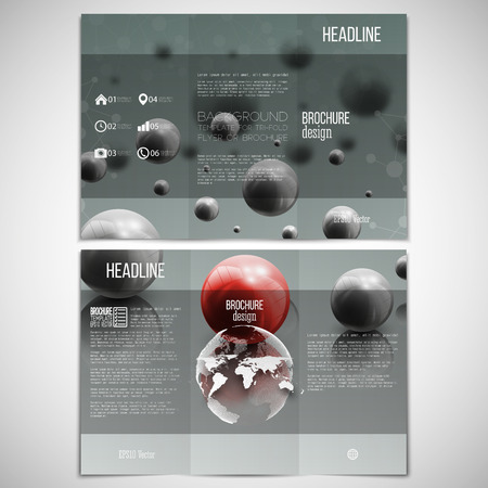 catalog cover: set of tri-fold brochure design template on both sides with world globe element