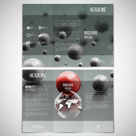 leaflet design: set of tri-fold brochure design template on both sides with world globe element