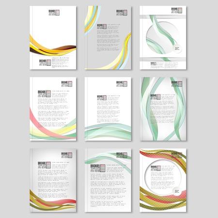 Colored wave backgrounds set. Brochure, flyer or report for business Ilustração