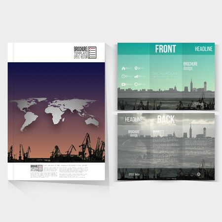 dockyard: Shipyard and city landscape. Brochure, tri-fold flyer or booklet for business. Modern trendy design templates on both sides.