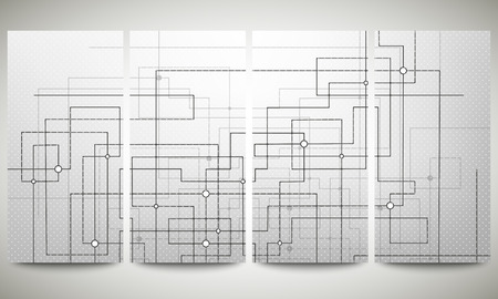 Web banners set, technical construction with connected lines and dots, header layout templates, science vector illustration. Vector