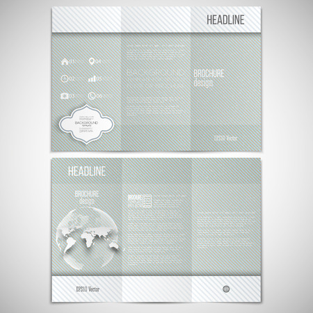 both sides: set of tri-fold brochure design template on both sides with world globe element