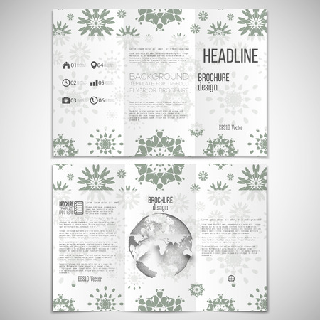 threefold: Vector set of tri-fold brochure design template on both sides with world globe element. Modern stylish geometric background with abstract flowers. Simple gray monochrome vector texture.