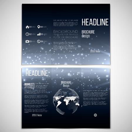 set of tri-fold brochure design template on both sides with world globe element Vector