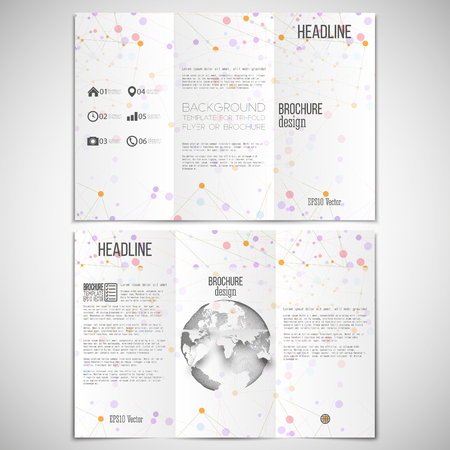 threefold: Vector set of tri-fold brochure design template on both sides with world globe element. Molecular colored structure on white background. Business or science style, vector illustration. Illustration