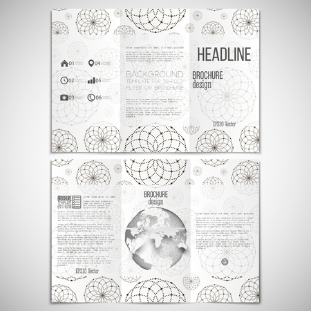 threefold: Vector set of tri-fold brochure design template on both sides with world globe element. Dotted modern stylish geometric background, circles and abstract flowers. Simple monochrome vector texture.