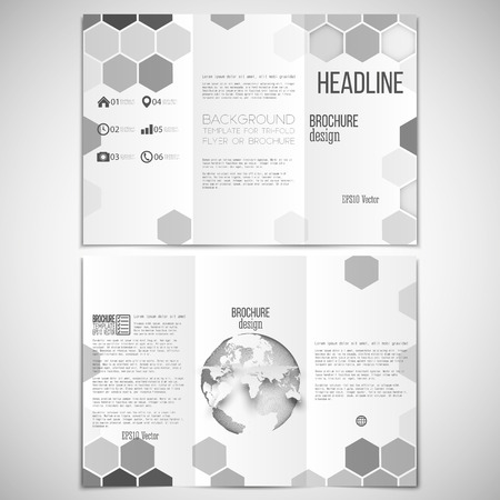 threefold: Vector set of tri-fold brochure design template on both sides with world globe element. Hexagonal modern stylish geometric monochrome background. Gray honeycombs on white background.