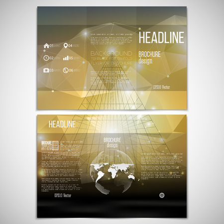 threefold: Vector set of tri-fold brochure design template on both sides with world globe element. Abstract 3D pyramid, geometric background, yellow triangle style for business or science pattern vector. Illustration