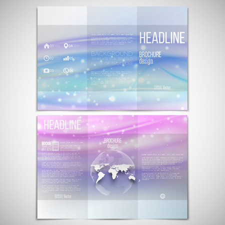 threefold: Vector set of tri-fold brochure design template on both sides with world globe element. Abstract blue wave, light style background.