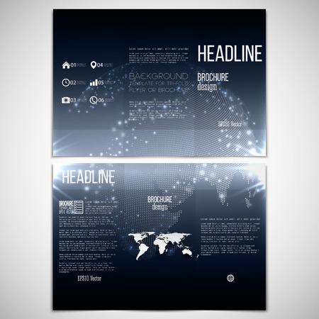 Vector set van tri-fold brochure ontwerp sjabloon aan beide kanten met wereld bol element. Abstracte flash achtergrond, donkere nacht stijl vector patroon.