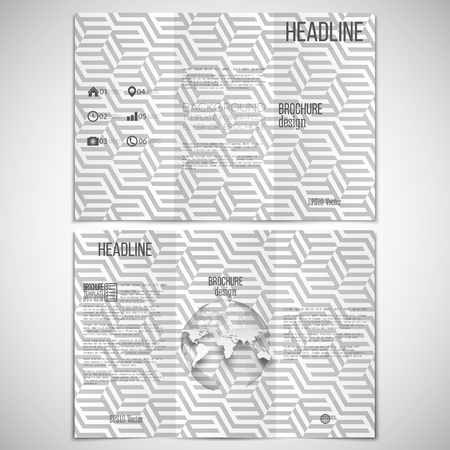 threefold: Vector set of tri-fold brochure design template on both sides with world globe element and repeating modern stylish geometric cubes.  Simple abstract monochrome vector texture.