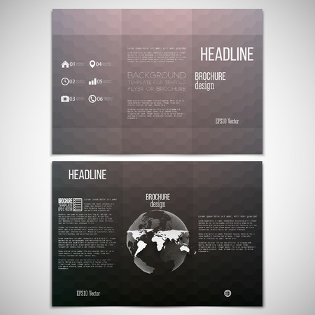 threefold: Vector set of tri-fold brochure design template on both sides with world globe element. Abstract blurred background. Colorful hexagonal vector pattern. Illustration