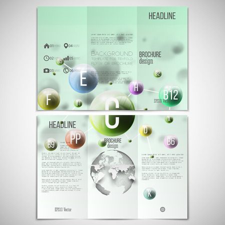 threefold: Vector set of tri-fold brochure design template on both sides with world globe element. Three dimensional glowing color spheres, green background. Abstract colorful vitamins. Scientific or medical patterns.