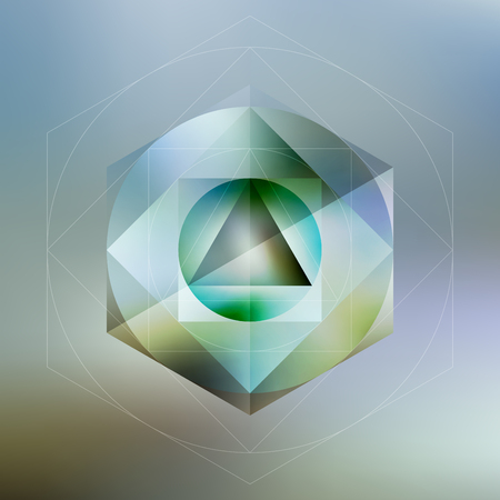 Polygon pattern with the reflection, minimalistic geometric facet crystal logo on blurred background, vector illustration.