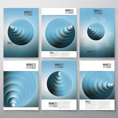 three layered: Circles pattern with the reflection of environment on blurred background, 3D pyramids. Brochure, flyer or report for vector business templates.