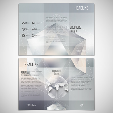 threefold: Vector set of tri-fold brochure design template on both sides with world globe element. Polygon pattern with the reflection, minimalistic geometric facet crystal logo on blurred gray background