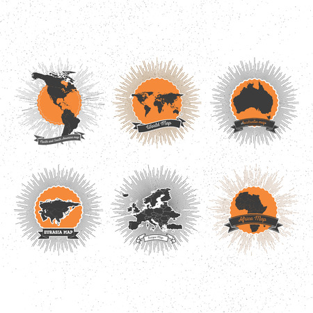World maps badges set with vintage style star burst, retro elements for your design. Vector
