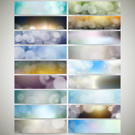 bunner: Blurry backgrounds set with bokeh effect. Web banners collection, abstract header layout templates, vector illustration.