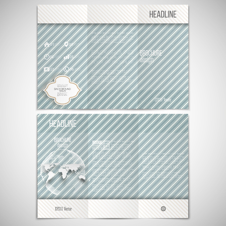threefold: Vector set of tri-fold brochure design template on both sides with world globe element. Vintage style lines blue background. Repeating modern stylish geometric decoration. Simple abstract monochrome vector texture.