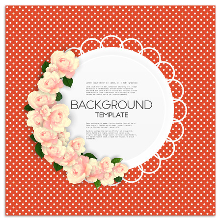 red rose background: Invitation card with place for text and pink flowers over red dotted background, vector illustration. Illustration