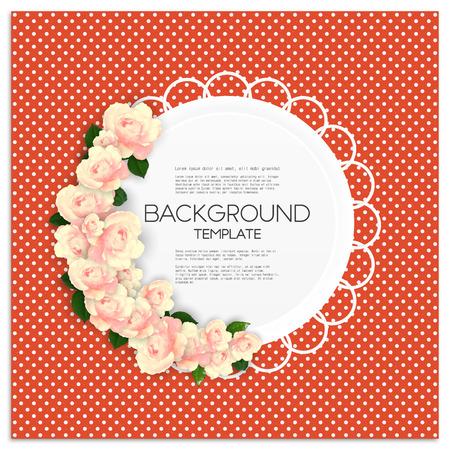 lunares rojos: Tarjeta de invitaci�n con lugar para el texto y rosa flores sobre fondo punteado rojo, ilustraci�n vectorial. Vectores
